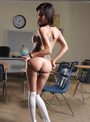 Lusty latina schoolgirl Gia Dimarco taking off all of her clothes