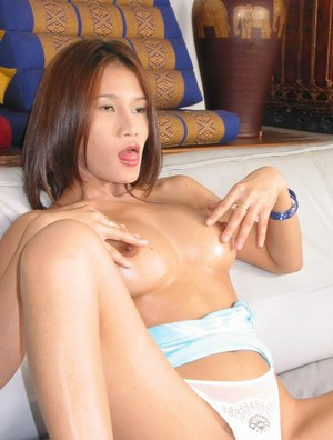 Cute asian chick exposing her sweet tits and toying her hairy slit