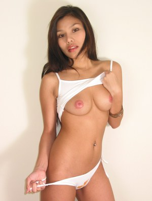 Seductive asian babe with petite tits masturbating her sweet pussy
