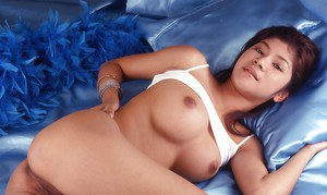 Sexy asian babe in lingerie exposing her big tits and unshaven pussy