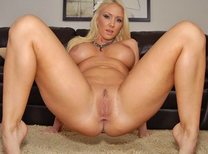 Blonde MILF with big tits and fatty ass Molly Cavalli stripping