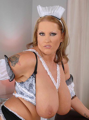 Fatty MILF in maid uniform showing off her flabby boobs and gets nailed