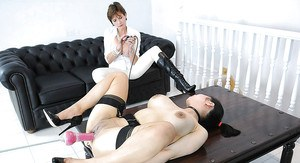 Kinky fetish babes are into wild lesbian action with a fucking machine
