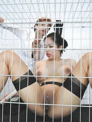 Caged asian fetish babe toying her cunt while her mature friend watching
