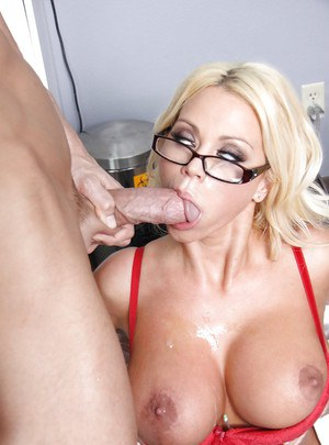 Busty doctor in glasses Nikita Von James gives a blowjob and gets fucked