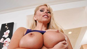 Fatty blonde MILF Karen Fisher uncovering her gorgeous curves