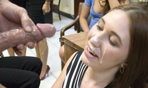 Sexy babe sucks a malestrippers cock and gets banged at the office party
