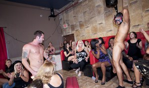 Seductive chicks showing off their cock sucking skills at the CFNM party