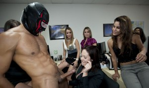 Office girls go really wild at the party with malestripper