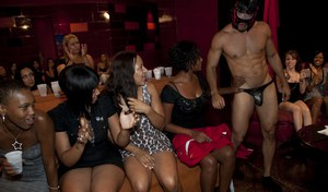 Lucky stripper gets his hard tool jerked and sucked by squad of party girls