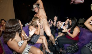 Lucky malestripper gets his cock sucked on at the wild CFNM party