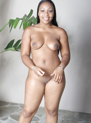Fatty ebony babe with big tits Lexi Cruz stripping and toying her twat
