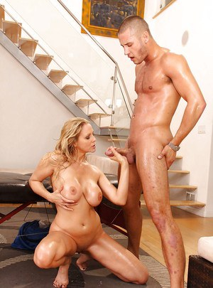 Blonde MILF with big tits Julia Ann gets her shaved cunt drilled
