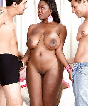 Buxom ebony lady Camille Morgan is into groupsex with two white guys