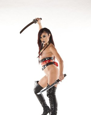 Gorgeous asian pornstar Kaylani Lei showing off her tempting curves