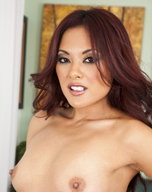 Seductive asian babe in stockings Kaylani Lei stripping in the office