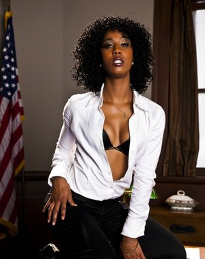 Svelte ebony babe on high heels Misty Stone stripping in the office