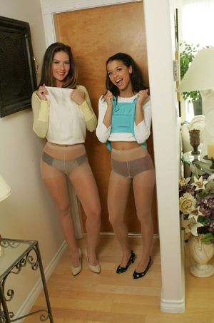 Lovely amateur babes in pantyhose stripping and posing topless