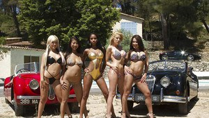 Stupendous babes in bikini uncovering their fuckable bodies outdoor