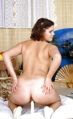 Chubby teen babe with huge bosoms taking off her pajamas and toying her bush