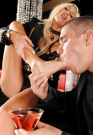 Lusty MILF Puma Swede gets her feet licked and her cunt drilled hardcore