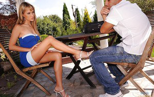 Adorable babe Blue Angel gives a footjob and gets pounded outdoor
