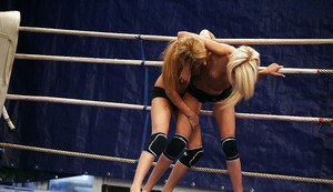 Fuckable lesbians fighting and pleasuring each other in the ring