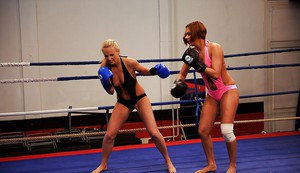 Box fighting of two lovely babes ends up with hot lesbian sex