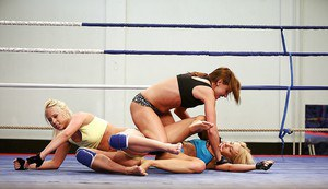 Wild women wrestling ends up with passionate lesbian threesome sex