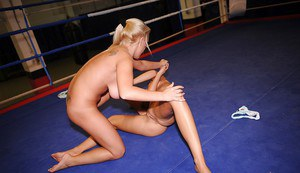 Nude wrestling of two gorgeous babes turns into pussy licking action