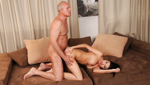 Teen hottie Samy Omidee gets her pussy nailed and creampied by an oldman