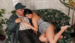 Curvy teen hottie with ample ass gets shagged hardcore by an oldman