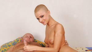 Lustful teen babe fucks an oldman and gets a cumshot on her shaven head