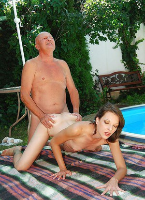 Kinky babe licks an oldman's asshole and gets fucked outdoor