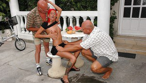 Kinky teen babe gets banged by a fucking machine and two horny oldmen