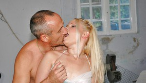 Naughty teen blonde Angel Spice gets her pink pussy fucked by an older guy