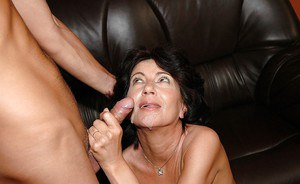 Horny granny with tiny tits gets her hairy twat nailed by younger guy