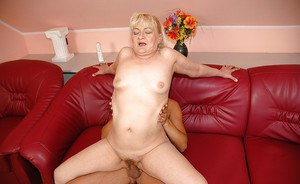 Fatty granny gives a blowjob and gets her hairy twat nailed hardcore
