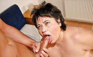 Fatty granny gives a blowjob and gets screwed by a younger guy