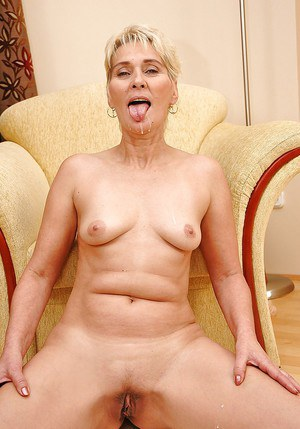 Lusty granny Bibi Taylor gets her cunt stretched with a dildo and a big cock