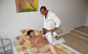 Filthy granny gets her trimmed cunt fisted and fucked by a black doctor