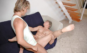 Short haired granny gets her hairy twat fucked and creampied