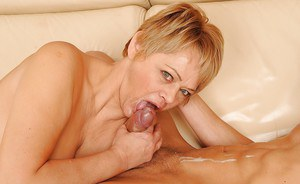 Mature babe gets her cunt licked and fucked by a young hot guy