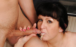 Granny with big tits has hardcore sex with a young guy with a big dick