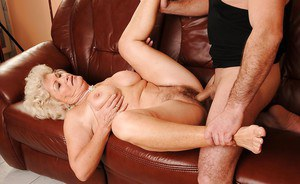 Horny granny with a hairy cunt ass fucking hardcore in her wet pussy