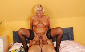Blonde mature babe with big tits gets her hairy pussy nailed hardcore