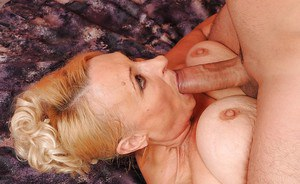 Fatty granny gets a cumshot on her flabby tits after hardcore fucking