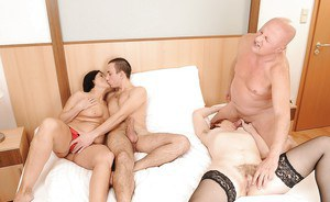 Mature ladies enjoy fucking in groupsex with two youngsters