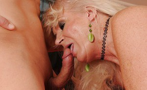 Mature blonde gets hardcore fucked and licks the guy's asshole