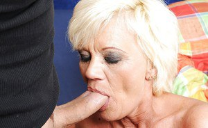 Naughty granny with big tits gives a blowjob and gets her ass licked